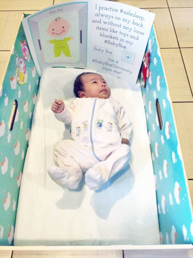infant in a box